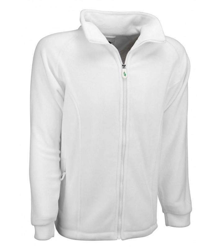 OW-FLJ  Fleece White Zipped Jacket