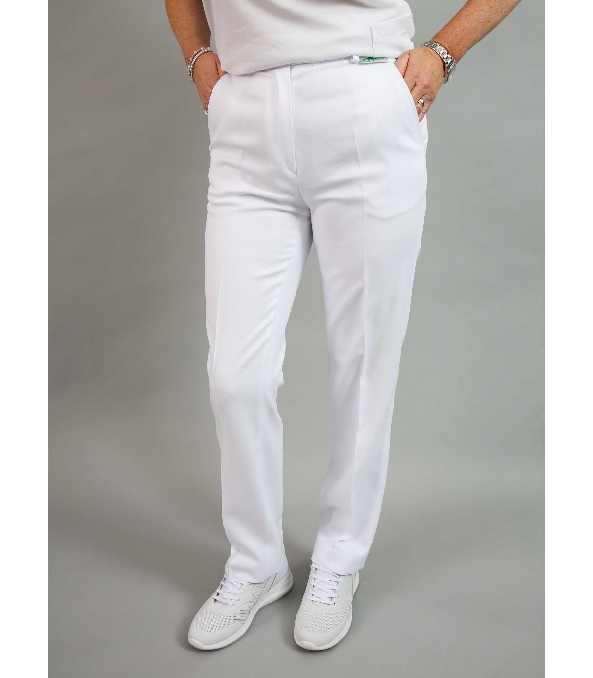 22 SHORT EMSMORN LADIES BI-STRETCH SLACKS TEFLON COATED white
